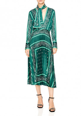 Sandro Cactus Bandana Print Pleated Midi Dress
