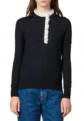 Sandro Colane Eyelet Detail Wool Blend Sweater