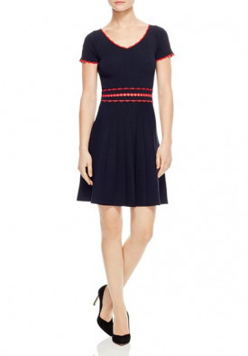 Sandro Enrick Contrast-Trim Pleated Knit Dress
