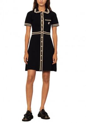 Sandro Flavia Short-Sleeve Contrast-Trim Dress