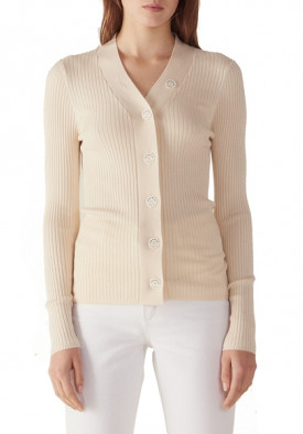 Sandro Gabrielle Ribbed Fine-Knit Buttoned Cardigan