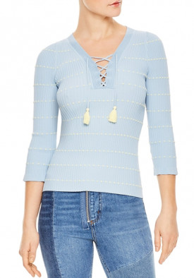 Sandro Gemilia Tasseled Lace-Up V-Neck Sweater