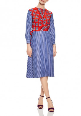 Sandro Isadora Mixed-Print Midi Dress