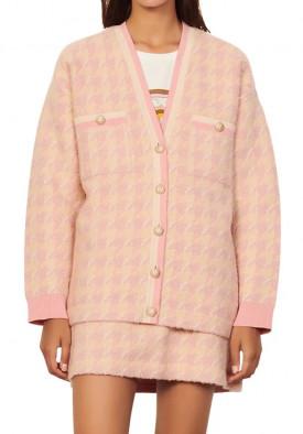 Sandro Kimberley Houndstooth Check Cotton & Wool Blend Cardigan