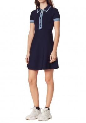 Sandro Lue Zip Collar Knit Polo Dress