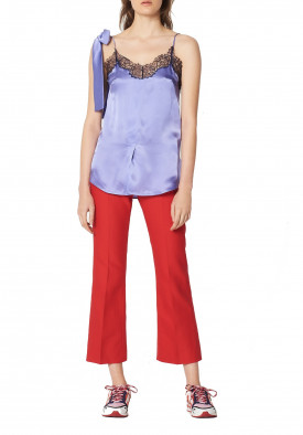 Sandro Oiseau Lace Trim Silk Top