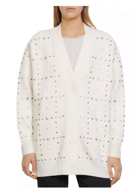 Sandro Stars Oversized Studded V-Neck Cardigan