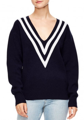 Sandro Platine Oversized Stripe V-Neck Sweater