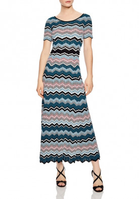 Sandro Rone Geo-Stripe Long Knit Dress