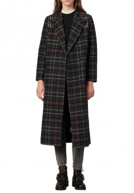 Sandro Tiles Stud Detail Plaid Wool Blend Coat