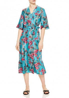 Sandro Tinca Floral-Print Silk Midi Wrap Dress