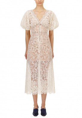 Self-Portrait Camellia Crystal-Embellished Corded Lace Midi Dress