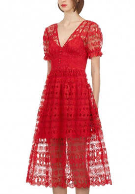 Self-Portrait V-Neck Short-Sleeve Lace Midi Dress