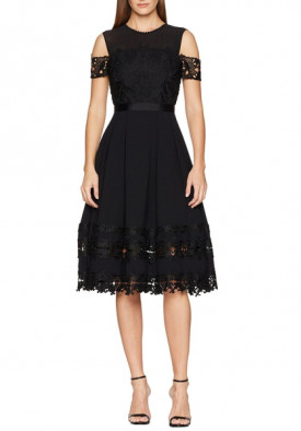 Ted Baker London Nacii Structured Lace Cold-Shoulder Midi Dress