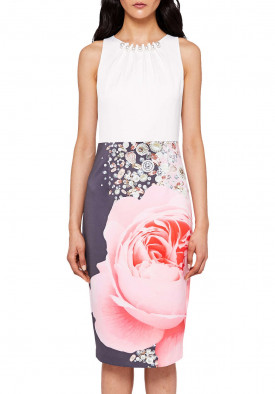 Ted Baker Rubelle Blenheim Palace Ruched Detail Midi Dress