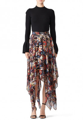 The Kooples Bollywood Floral Lurex Asymmetric Midi Skirt