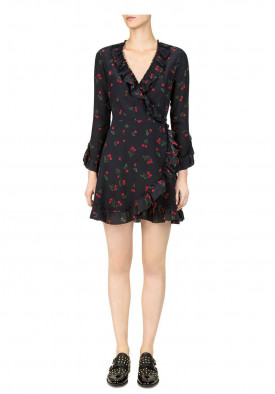 The Kooples Cherry Love Ruffled Wrap Dress