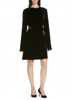 Theory Velvet Tie-Waist Shift Dress