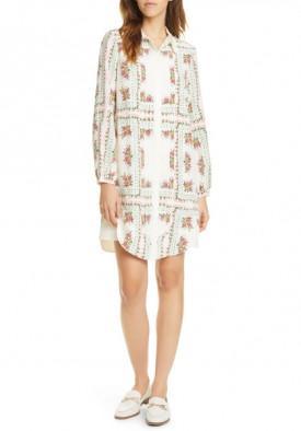 Tory Burch Cora Garden Veil Long-Sleeve Silk Shirtdress