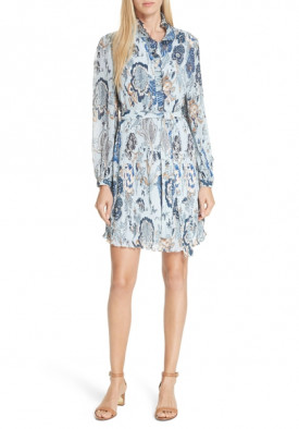 Tory Burch Deneuve Ruffle-Trim Floral-Print Dress