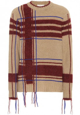 Tory Burch Eden Fuzzy Yarn-Trim Plaid Sweater