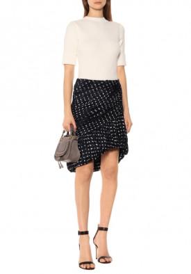 Tory Burch Ruched Polka-Dot Silk-Satin Jacquard Mini Skirt