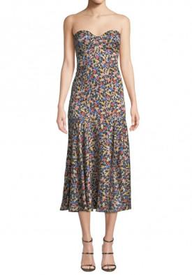 Veronica Beard Annika Floral Print Strapless Stretch Silk Dress