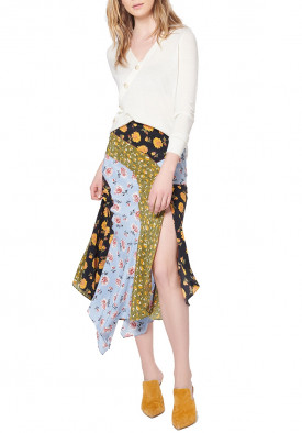 Veronica Beard Mac Patchwork Floral Asymmetric Skirt