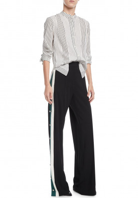 Veronica Beard Russo High-Waist Side-Snap Wide-Leg Pants