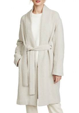 Vince Belted Wool-Blend Bouclé Coat