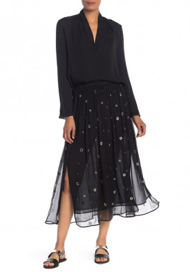 Vince Metallic Embroidered Silk Midi Skirt