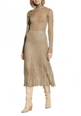 Vince Pleated Metallic Crochet-Knit Midi Skirt