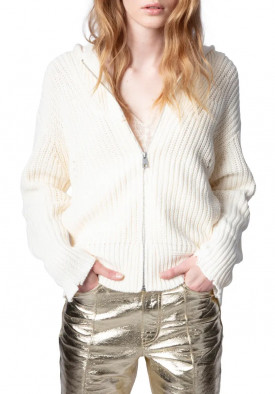 Zadig & Voltaire Moore Cow Blason Embroidered Zip-Up Cotton Sweater