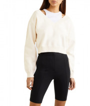 Alexanderwang.T Cropped Bi-layer V-Neck Sweater