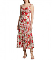 Alexis Amal Pleated Rose-Print Sleeveless Dress