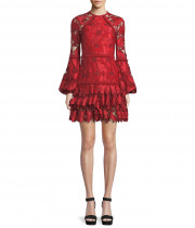 Alexis Fransisca Floral Lace Blouson-Sleeve Dress
