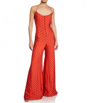 Alexis Holland Dot-Print Halter Wide-Leg Jumpsuit