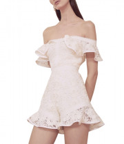Alexis Ri Off-the-Shoulder Ruffled Romper
