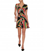 Alice + Olivia Adrianna Rainbow Print Wrap Mini Dress