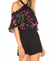 Alice + Olivia Alyssa Sakura Flower Off-the-Shoulder Halter Top