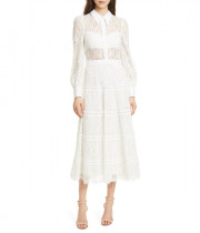 Alice + Olivia Anaya Lace Midi Shirtdress
