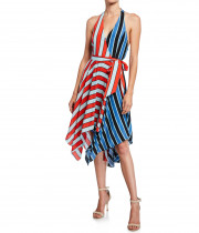 Alice + Olivia Canton Stripe Halter Neck Handkerchief Hem Dress