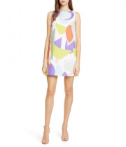 Alice + Olivia Clyde Printed Geo Collage A-Line Shift Dress