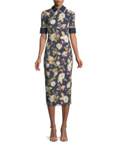 Alice + Olivia Delora Fitted Collared Midi Dress
