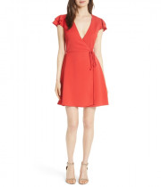 Alice + Olivia Doralee Flutter-Sleeve Wrap Dress