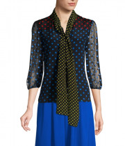 Alice + Olivia Jeannie Polka Dot Pussybow Blouse