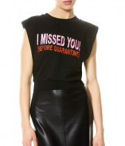 Alice + Olivia Kendrick Embroidered-Text Strong-Shoulder Top