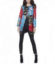 Alice + Olivia Logan Patchwork Collarless Coat