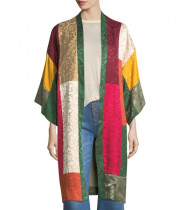 Alice + Olivia Lupe Long Patchwork Jacquard Kimono