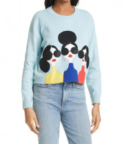 Alice + Olivia Nyla Stace Face Appliqué Crop Sweatshirt